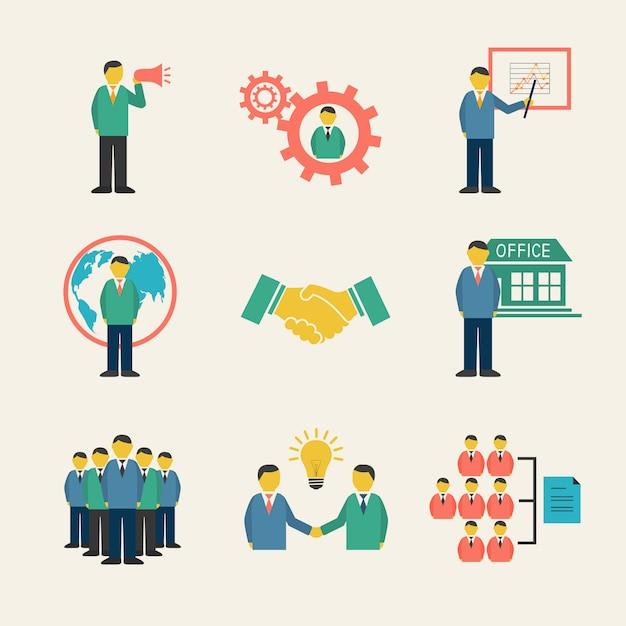 Gente de negocios plana reunión conjunto de iconos Vector Premium