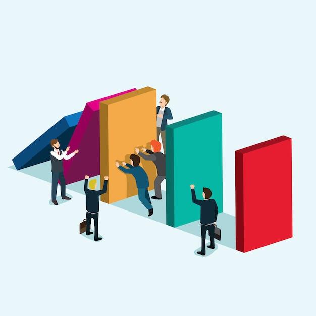 La gente de negocios retiene la pared Vector Premium