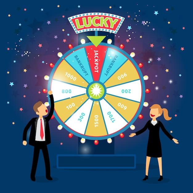 Gente de negocios con rueda de la fortuna financiera. concepto de juego. oportunidad y riesgo, éxito y victoria, juego y dinero. vector gratuito