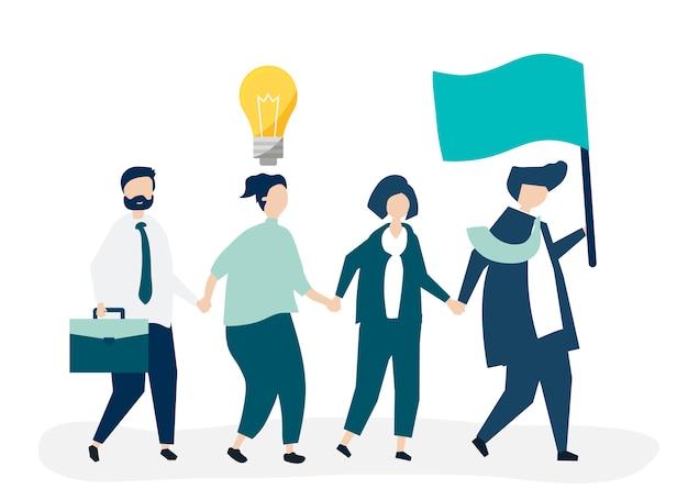 Gente de negocios siguiendo al líder para encontrar un nuevo mercado. vector gratuito