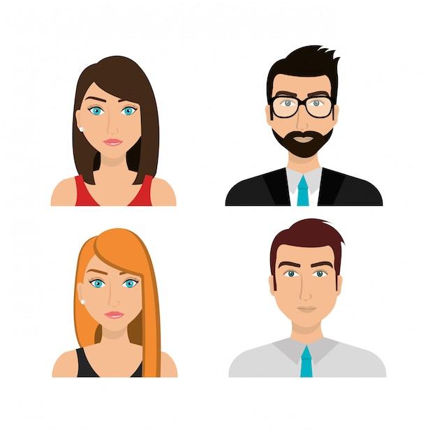 Gente de negocios trabajando vector gratuito