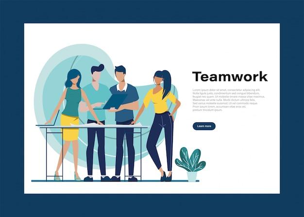 Gente de negocios trabajo en equipo carácter de oficina. animación para movimiento. reunión del seminario colega. espacio de trabajo interior de la oficina. Vector Premium