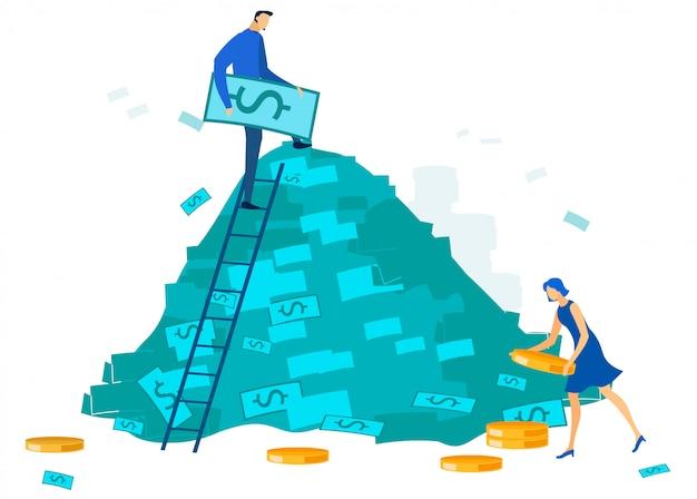 Gente de la oficina y dibujos animados de la pila de dinero en efectivo grande Vector Premium