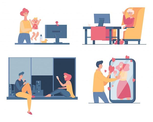 La gente pasa tiempo juntos en casa, charlando y hablando en la ilustración de dibujos animados de videollamada. Vector Premium