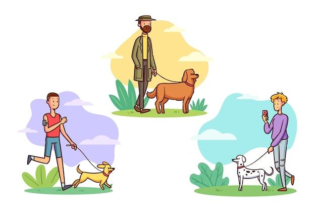 Gente paseando al paquete de perros vector gratuito