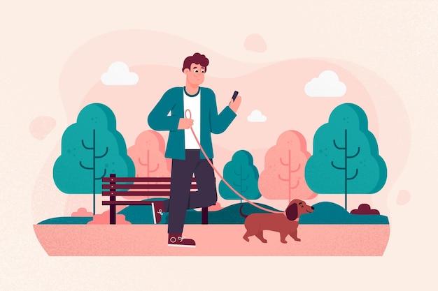Gente paseando al perro afuera vector gratuito