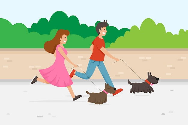 Gente paseando al perro al aire libre vector gratuito
