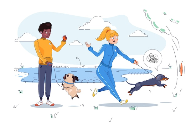 Gente paseando al perro ilustración vector gratuito