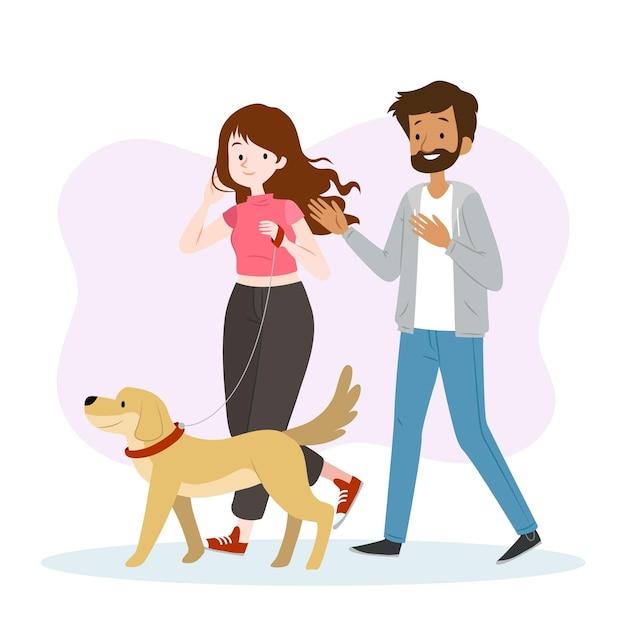 Gente paseando al perro juntos vector gratuito