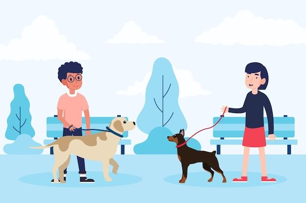 Gente paseando al perro en el parque vector gratuito