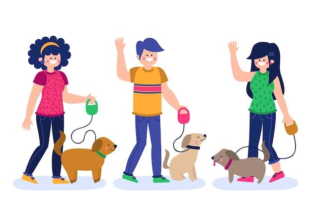 Gente paseando al perro vector gratuito