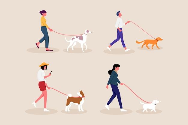Gente paseando al perro Vector Premium