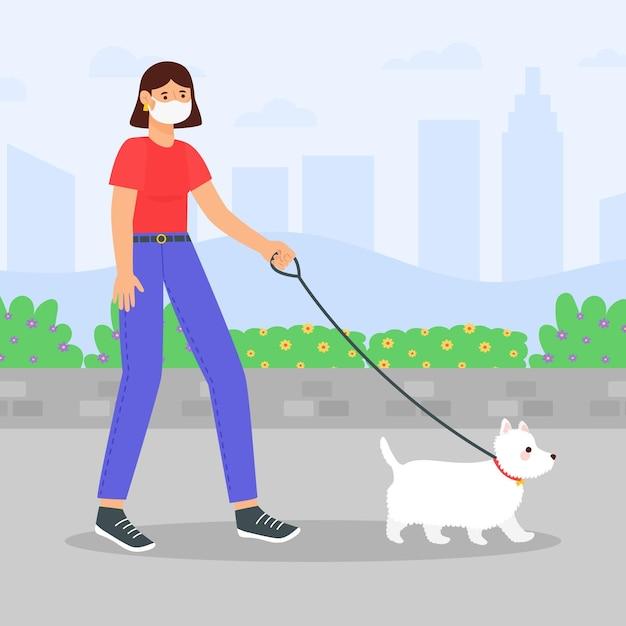 Gente paseando el concepto de perro vector gratuito