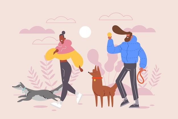 Gente paseando el diseño del perro vector gratuito