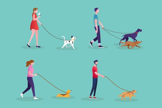 Gente paseando el tema del perro vector gratuito