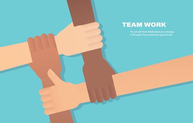 Gente poniendo sus manos juntas. voluntario Vector Premium