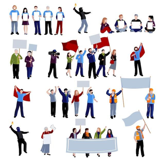 Gente de protesta manifestación vector gratuito