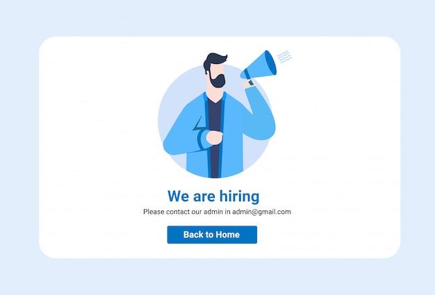 La gente que grita en el megáfono con nosotros estamos contratando el sitio web de ilustración de palabras Vector Premium