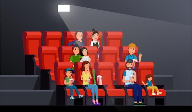 Gente que mira película cómodamente en el ejemplo del vector del palacio de la imagen. interior del teatro Vector Premium