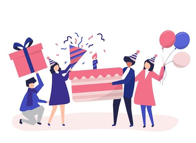 Gente que tiene iconos de la fiesta de cumpleaños vector gratuito