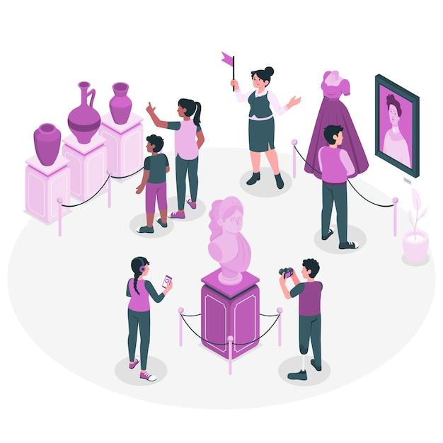 Gente que visita la ilustración del concepto del museo de historia vector gratuito