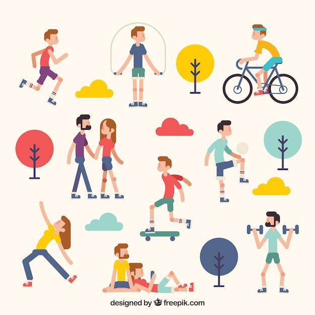 Gente realizando actividades de ocio al aire libre con diseño plano vector gratuito