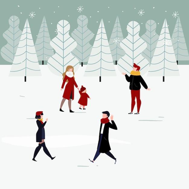 La gente en ropa de invierno disfruta de un día de invierno vector gratuito