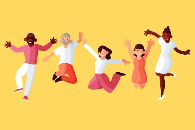 Gente saltando en el día de la juventud cocnept vector gratuito