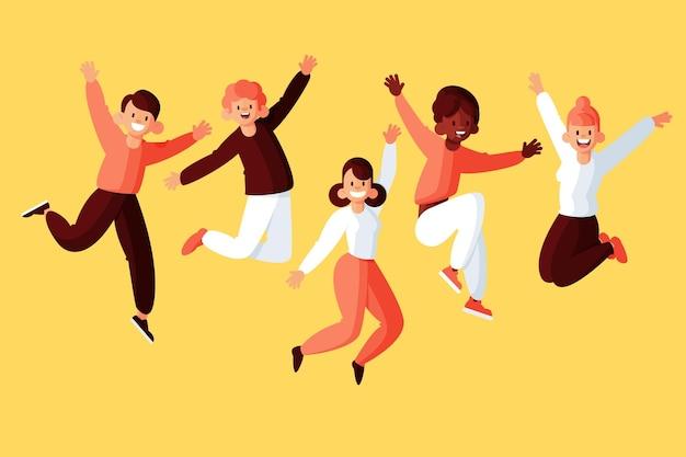 Gente saltando en el diseño del día de la juventud vector gratuito