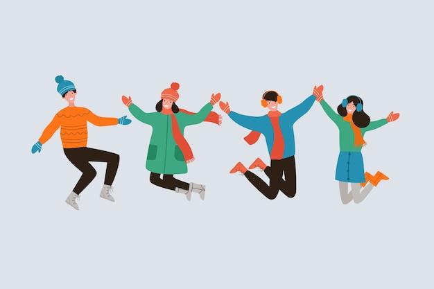 Gente saltando en ropa de invierno vector gratuito