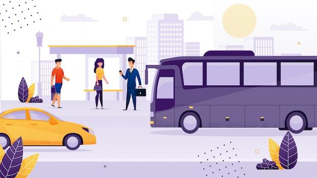Gente stinging en la parada de autobús de dibujos animados Vector Premium