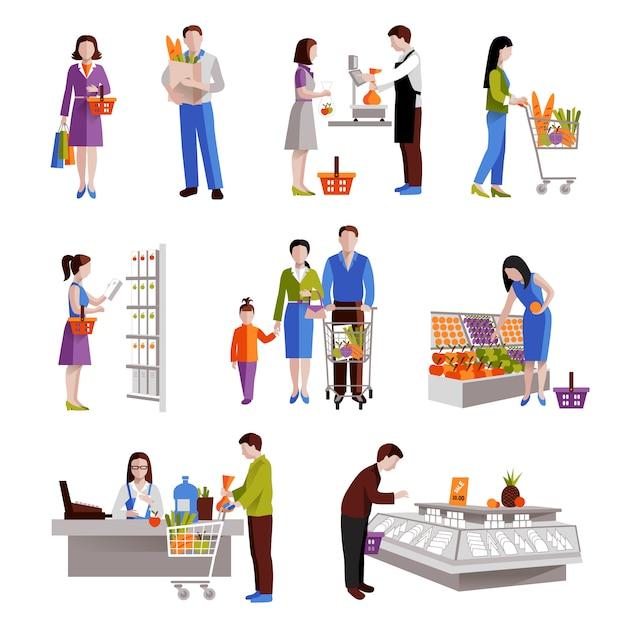 Gente en supermercado comprando productos comestibles. vector gratuito
