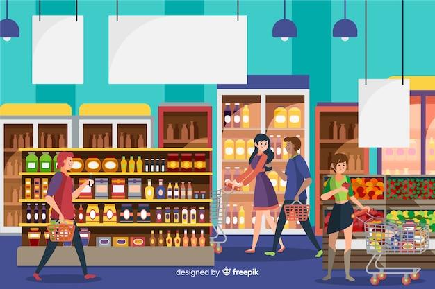 Gente en el supermercado dibujada a mano vector gratuito