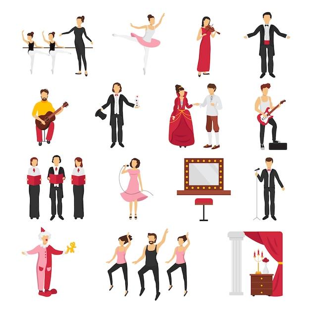La gente del teatro fijó con la ilustración aislada plana del vector de los símbolos del drama y del ballet vector gratuito