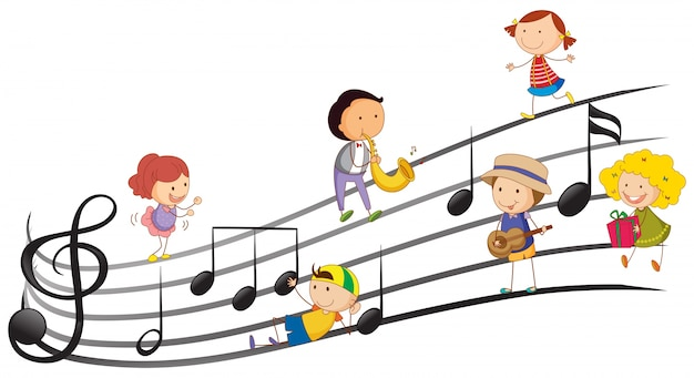 La gente tocando instrumentos musicales con notas musicales en el fondo vector gratuito