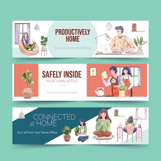 La gente trabaja desde su casa con computadoras portátiles, pc en la mesa, en el sofá y en la cocina. ilustración de acuarela de concepto de banner de oficina en casa vector gratuito