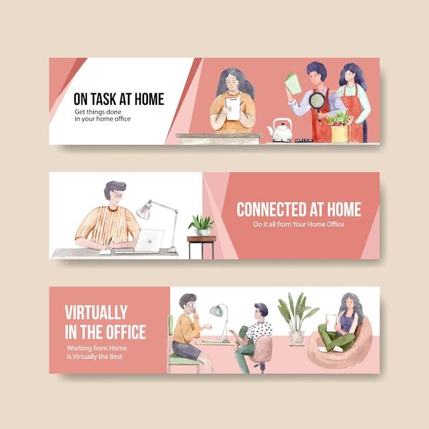 La gente trabaja desde su casa con computadoras portátiles, pc en la mesa, en el sofá. ilustración de acuarela de concepto de banner de oficina en casa vector gratuito