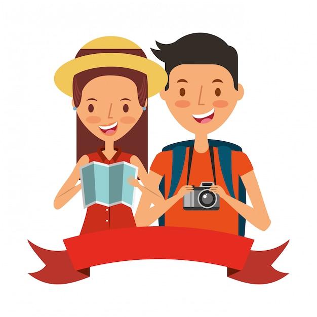 Gente de vacaciones de verano Vector Premium