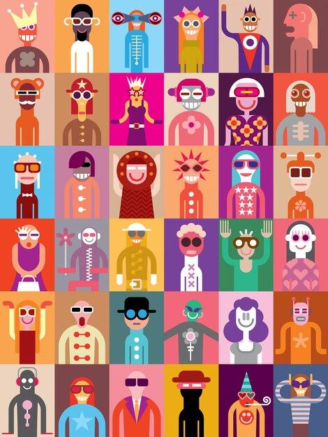 Gente, vector, ilustración Vector Premium