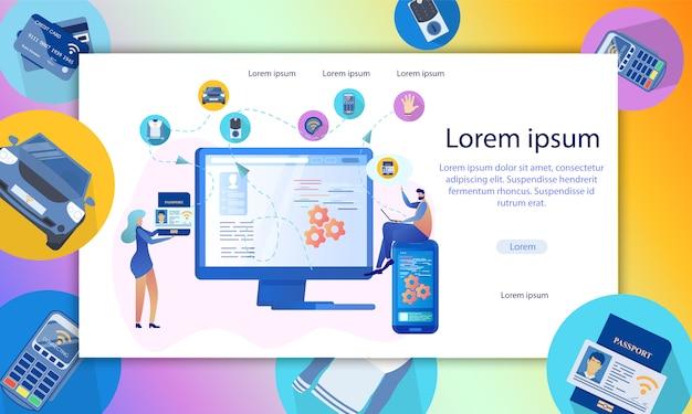 La gente verifica la ilustración de identificación digital personal Vector Premium