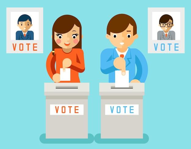 La gente vota a candidatos de diferentes partidos. votación electoral, votación y política, democracia de elección vector gratuito