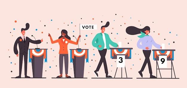 Gente votando sus escenas de campaña de presidente. vector gratuito