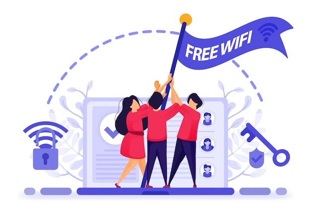 La gente vuela en señal de protesta para obtener acceso gratuito a internet o wifi. Vector Premium