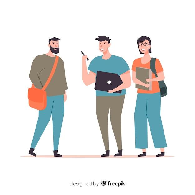 Gente yendo a la universidad en diseño plano vector gratuito