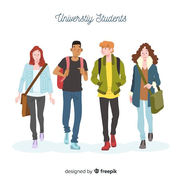 Gente yendo a la universidad vector gratuito