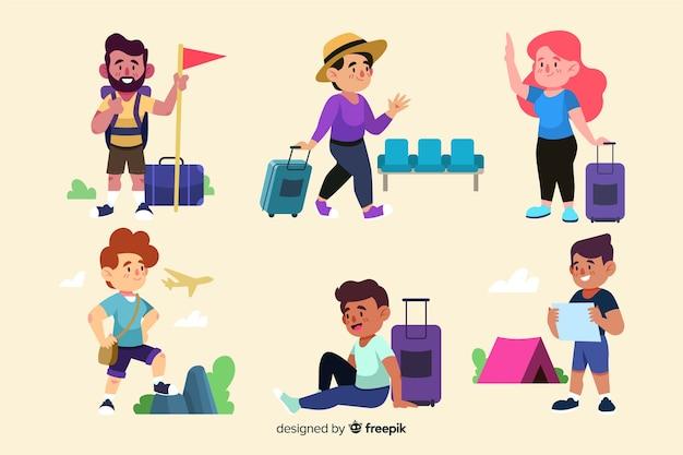 Gente yendo de viaje vector gratuito