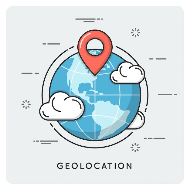 Geolocalización y navegación. linea fina . Vector Premium