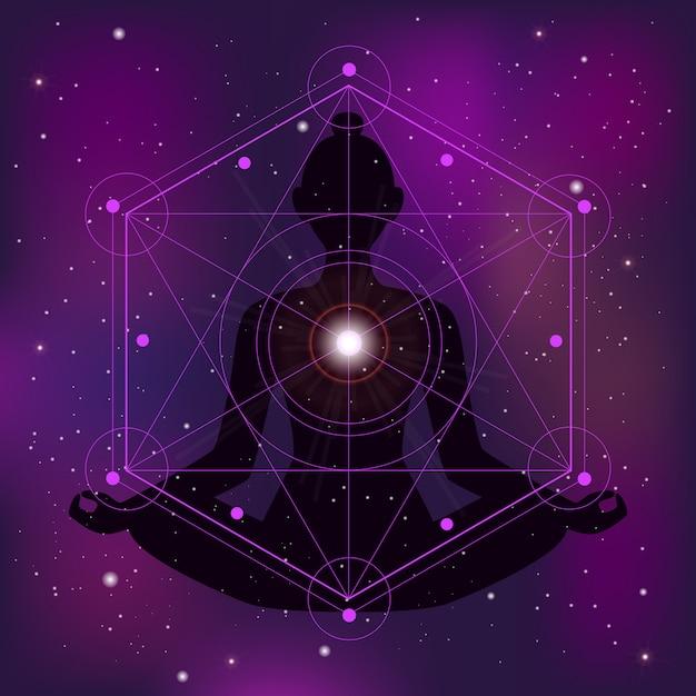 Geometría sagrada ilustración zen vector gratuito