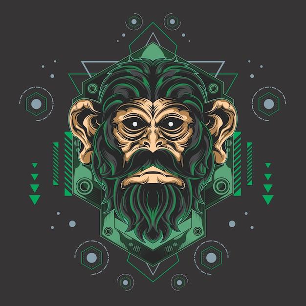 Geometría sagrada del mono épico Vector Premium
