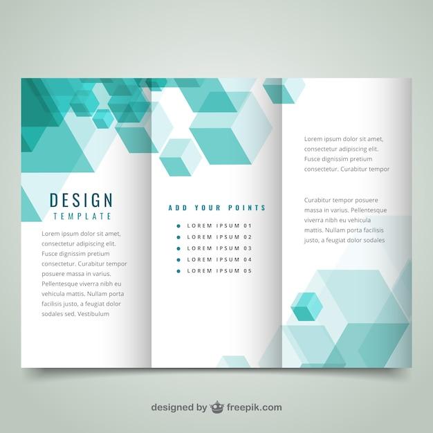Geométrico plantilla de folleto moderna Vector Premium